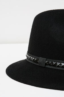 Cappello falda larga con borchie, Nero, hi-res