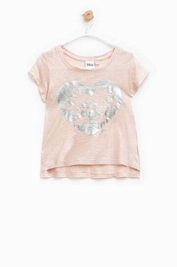 Camiseta con Mickey Mouse y Minnie con purpurina