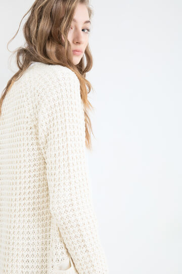 Plain knitted cardigan, White, hi-res