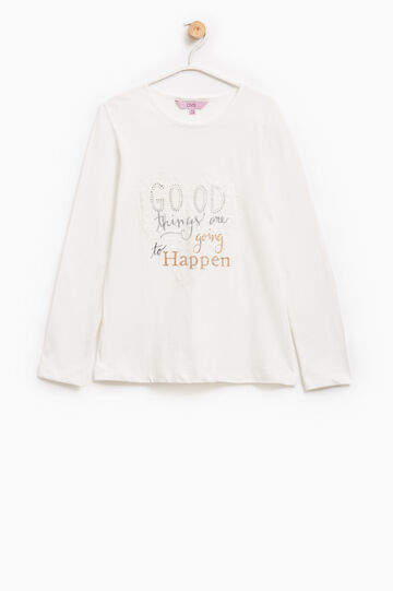 T-shirt puro cotone con stampa, Bianco, hi-res