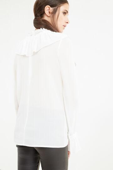 Blusa con volants tinta unita, Bianco, hi-res