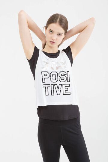 Sports T-shirt in stretch viscose, White/Black, hi-res