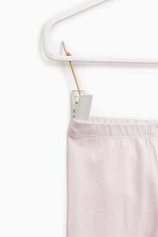 Solid colour stretch cotton leggings, Light Pink, hi-res