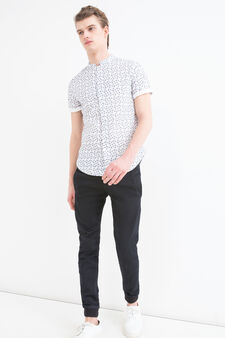 Slim-fit shirt in 100% cotton, White, hi-res