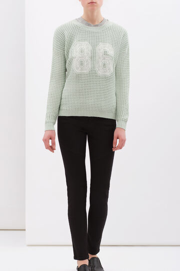 Crew-neck pullover with lace, Blue, hi-res