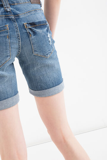 Stretch denim Bermuda shorts with rips, Blue, hi-res