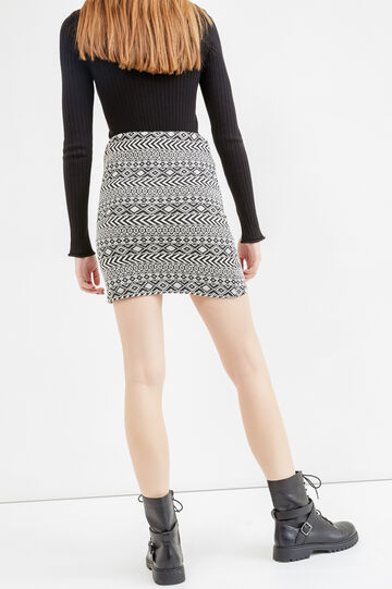 Short skirt with high waist and geometric print, Black, hi-res