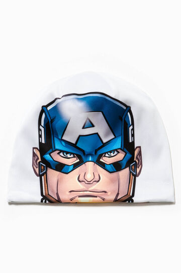 Beanie cap with Captain America print, Light Grey, hi-res