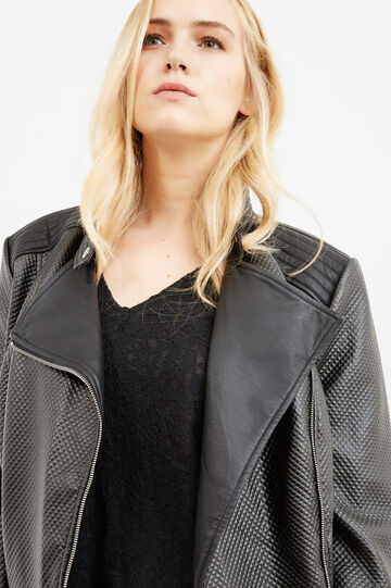 Curvy leather-look jacket with raised stitching, Black, hi-res
