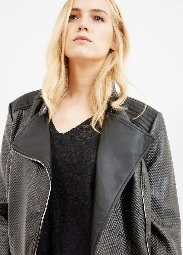 Curvy leather-look jacket with raised stitching | OVS