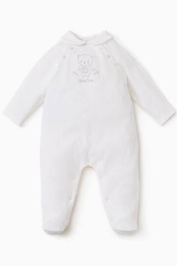 Solid colour onesie with feet., Cream White, hi-res