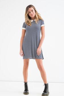 Teen stretch viscose striped dress, White/Blue, hi-res