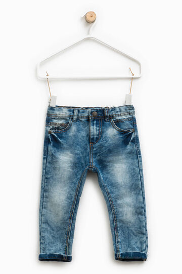 Misdyed-effect jeans with turn-ups