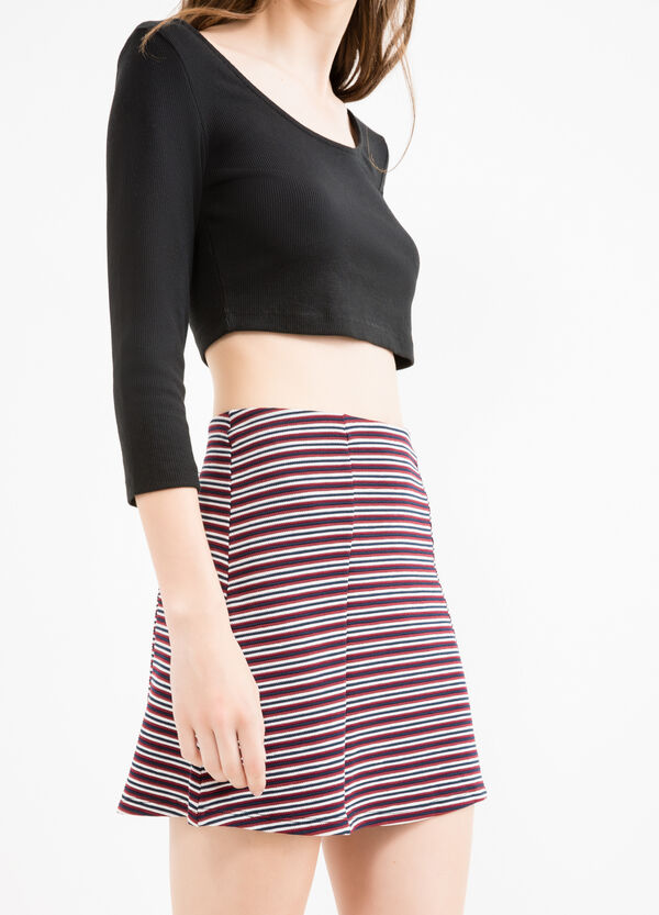 Falda de rayas en viscosa elástica de talle alto | OVS