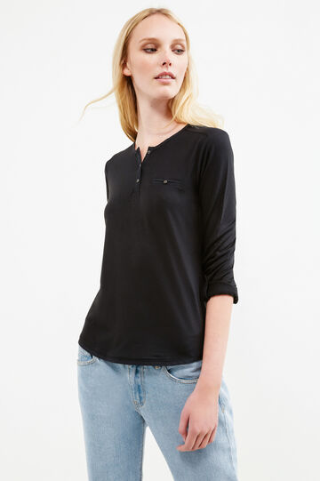 T-shirt with chest pocket, Black, hi-res