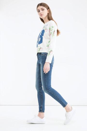 T-shirt cotone floreale, Bianco/Rosa, hi-res