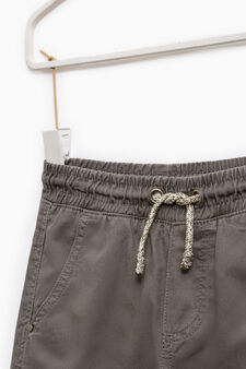 Cotton trousers with elasticated waistband, Dark Grey, hi-res