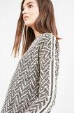 Jacquard sweatshirt with geometric pattern, Black, hi-res