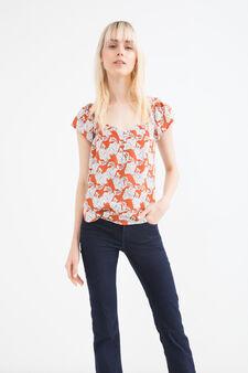 Patterned blouse in 100% viscose, Orange, hi-res