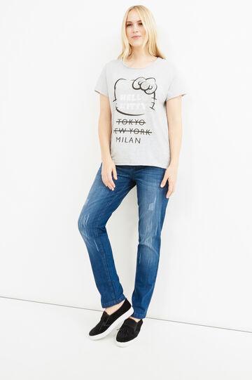 T-shirt cotone stampa Hello Kitty Curvy, Grigio melange, hi-res