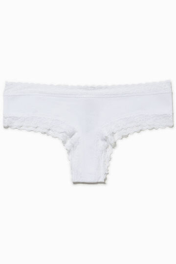 Stretch cotton French knickers with lace