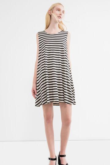 Short sleeveless dress with wide skirt, Black/White, hi-res