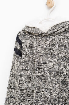 Knitted pullover with hood, Off-white, hi-res