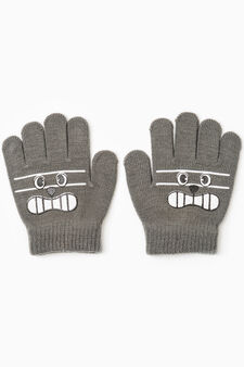 Solid colour gloves with patches, Grey, hi-res