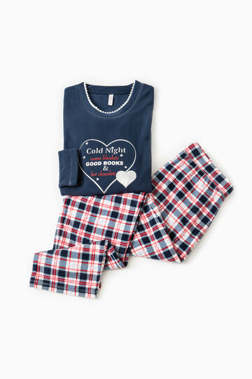 Fleece pyjamas with tartan pattern, Navy Blue, hi-res