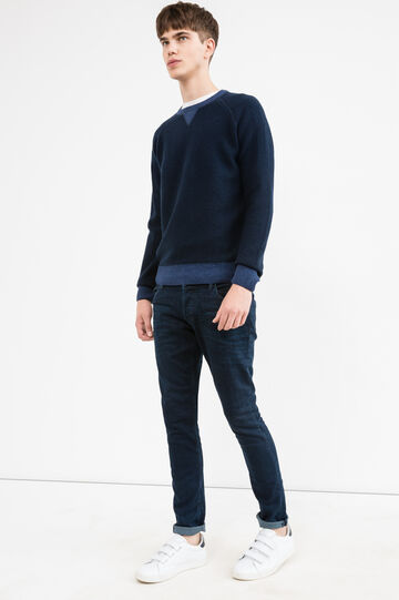 Crew neck pullover in 100% wool, Navy Blue, hi-res