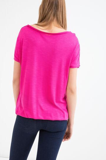 Solid colour 100% viscose T-shirt., Red, hi-res
