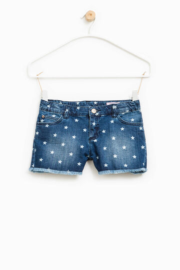 Washed-effect denim shorts with star pattern, White/Blue, hi-res