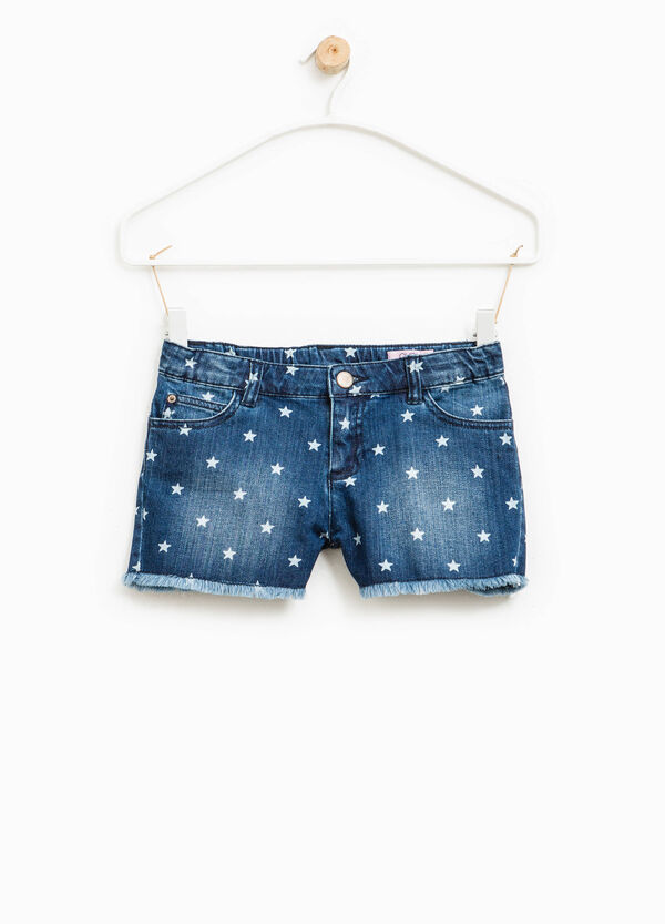 Washed-effect denim shorts with star pattern | OVS