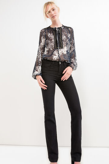 Semi-sheer blouse with studs, Blue, hi-res