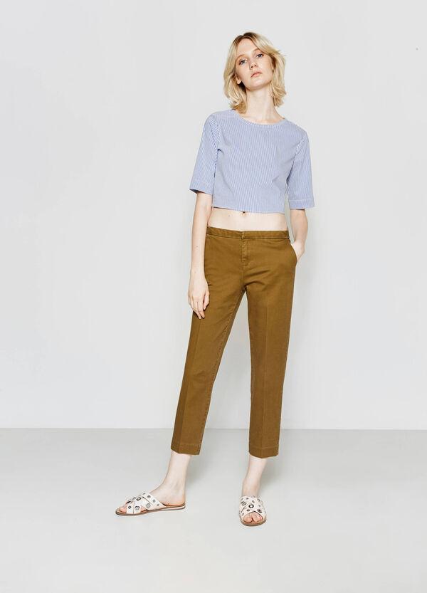 Pantaloni crop con risvolto in vita | OVS