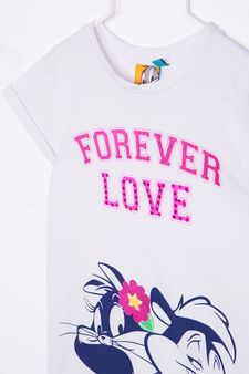 Stretch cotton T-shirt with print and diamantés, White, hi-res