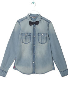 Denim shirt with bow tie, Denim, hi-res