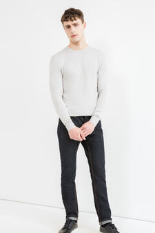 Viscose blend pullover with ribbing, Light Grey, hi-res