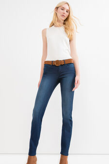 Slim-fit stretch jeans with fading, Dark Blue, hi-res