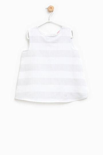 Blusa de rayas en mezcla de lino y algodón, Blanco hielo, hi-res