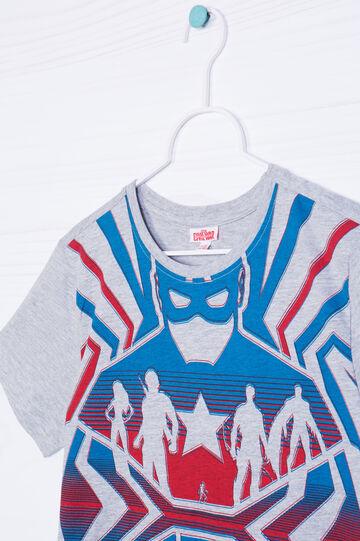 T-shirt in puro cotone stampa Marvel, Grigio melange, hi-res