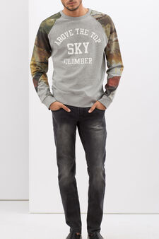 Hoodie with contrasting sleeves, Grey/Silver, hi-res