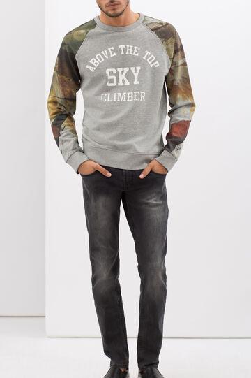 Hoodie with contrasting sleeves, Grey/Silver, hi-res
