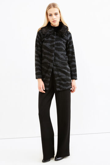 Knitted cardigan with fur, Black/Grey, hi-res