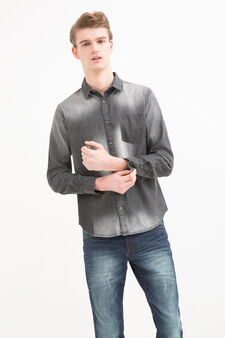 Faded effect 100% cotton shirt, Black, hi-res