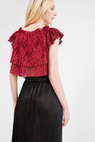 Openwork top with cap sleeves, Red, hi-res