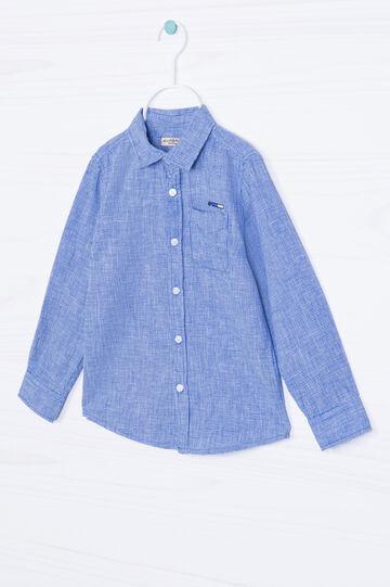 Camicia misto lino pied de poule, Bianco/Blu, hi-res