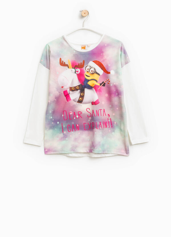 Printed cotton Minions T-shirt with diamantés | OVS