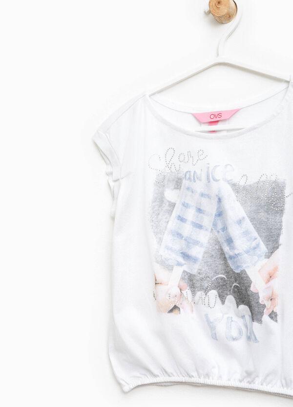T-shirt con stampa e strass | OVS