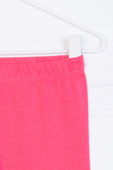 Solid colour stretch cotton leggings, Coral Pink, hi-res